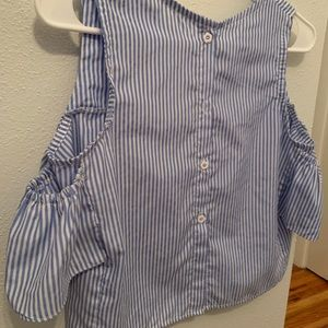 blue and white stripped tank top